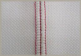 縫製工場ミヤモリ フラットシーマ 平三本針ミシンを使用した縫い目2-表側