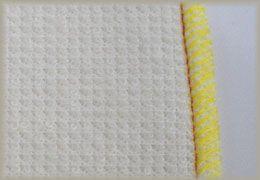 縫製工場ミヤモリ フラットシーマ 三本糸オーバーロックミシンを使用した縫い目1-裏側
