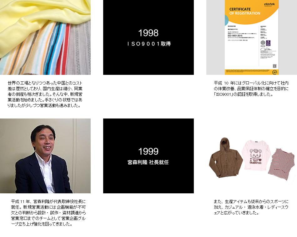 1998年ISO9001取得 1999年宮森利隆社長就任